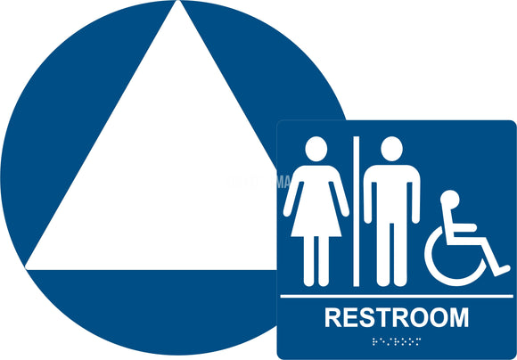 ADA Compliant All Gender Unisex Restroom Braille Sign Set , Wall+Door Sign CA 24-Restroom Sign-SignOptima