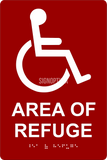 "ADA Compliant AREA OF REFUGE Sign,Acrylic Braille 6""x9""-ADA Sign-SignOptima"