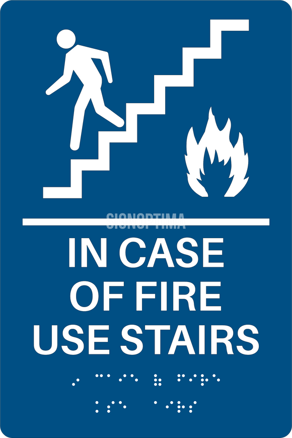 ADA Compliant Elevator Sign,IN CASE OF FIRE USE STAIRS,Acrylic Braille 6