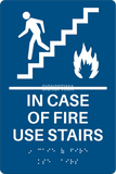 "ADA Compliant Elevator Sign,IN CASE OF FIRE USE STAIRS,Acrylic Braille 6""x9""-ADA Sign-SignOptima"