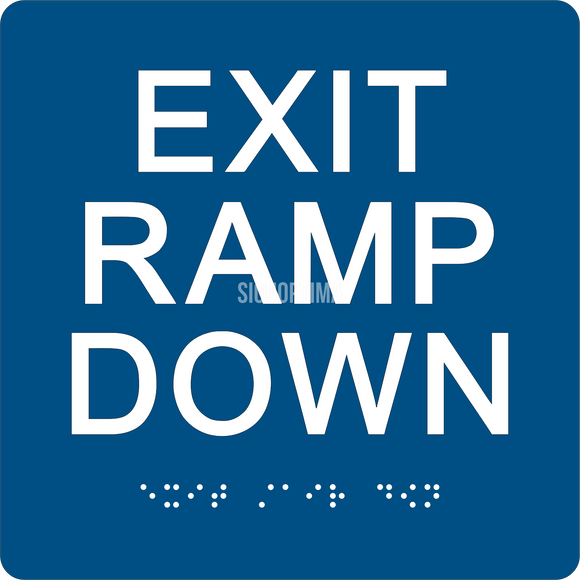 ADA Compliant EXIT RAMP DOWN Sign,Acrylic Braille 6