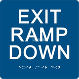 "ADA Compliant EXIT RAMP DOWN Sign,Acrylic Braille 6""x6""-ADA Sign-SignOptima"