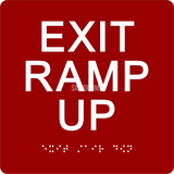 "ADA Compliant EXIT RAMP UP Sign,Acrylic Braille 6""x6""-ADA Sign-SignOptima"