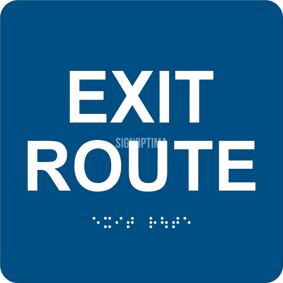 ADA Compliant EXIT ROUTE Sign,Acrylic Braille 6