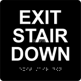 "ADA Compliant EXIT STAIR DOWN Sign,Acrylic Braille 6""x6""-ADA Sign-SignOptima"