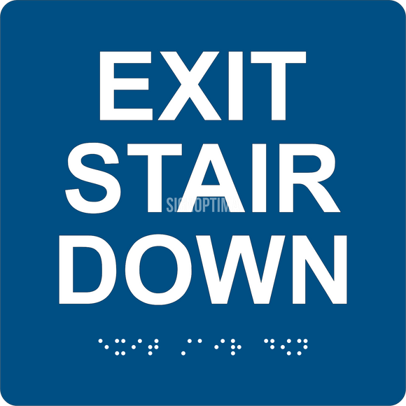 ADA Compliant EXIT STAIR DOWN Sign,Acrylic Braille 6