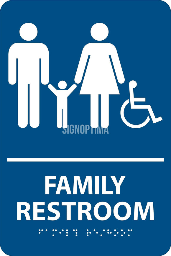 ADA Compliant Family Restroom Braille Sign-Restroom Sign-SignOptima