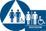 ADA Compliant Gender Neutral Restroom Braille Sign Set , Wall+Door Sign CA 24-Restroom Sign-SignOptima