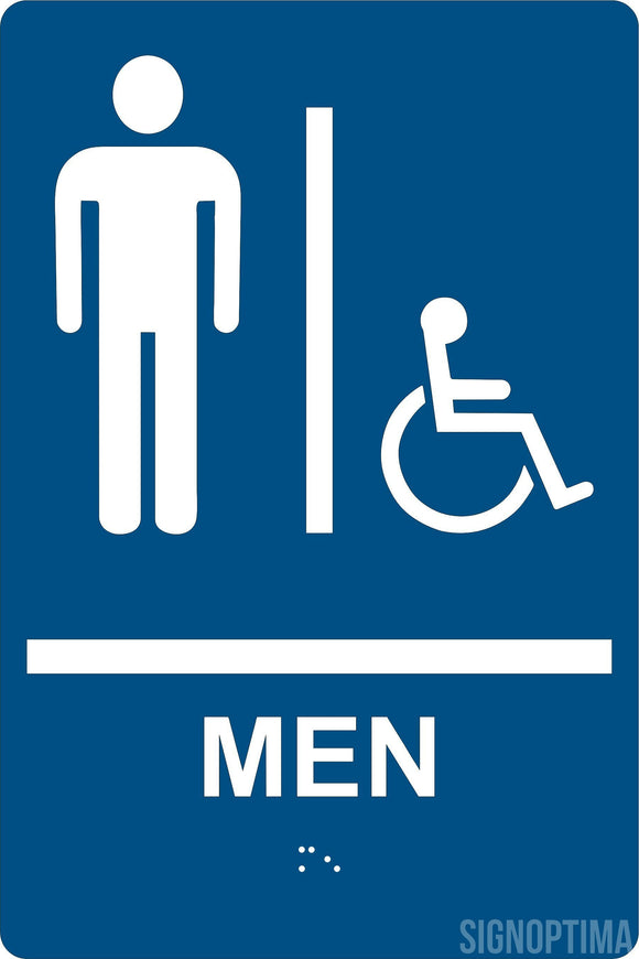 ADA Compliant Men Restroom Sign with Braille II , Wall Sign-ADA Sign-SignOptima