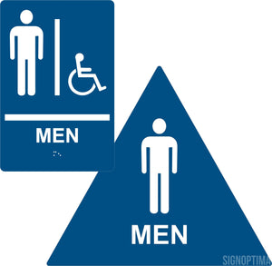 ADA Compliant Men's Restroom Sign Bundle, Braille Sign and Door Sign-Restroom Sign-SignOptima