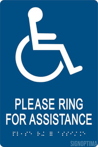 "ADA Compliant "" PLEASE RING FOR ASSISTANCE"" Acrylic Braille Sign-ADA Sign-SignOptima"