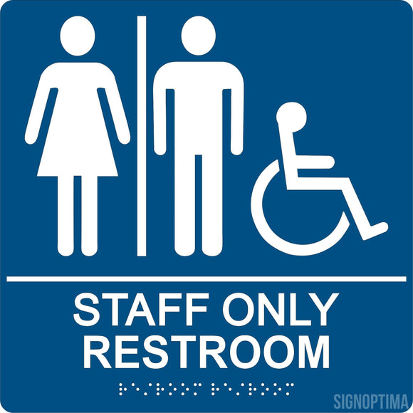 ADA Compliant Staff Only Restroom Sign With Braille II-Restroom Sign-SignOptima