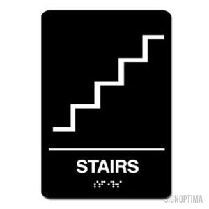 "ADA Compliant STAIRS Sign,Acrylic Braille 6""x9""-ADA Sign-SignOptima"