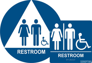 ADA Compliant Unisex Accessible Restroom Sign Bundle, Braille Sign and Door Sign (Plastic)-Restroom Sign-SignOptima