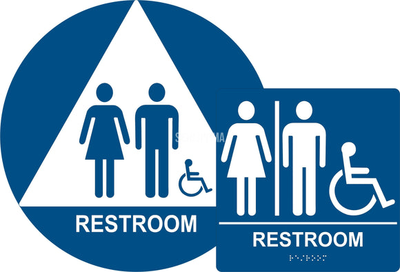 ADA Compliant Unisex Accessible Restroom Sign Bundle, Braille Sign and Door Sign(Acrylic)-Restroom Sign-SignOptima