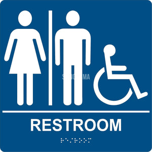ADA Compliant Unisex Accessible Restroom Sign with Braille II-Restroom Sign-SignOptima