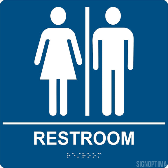 ADA Compliant Unisex Restroom Braille Sign ,8