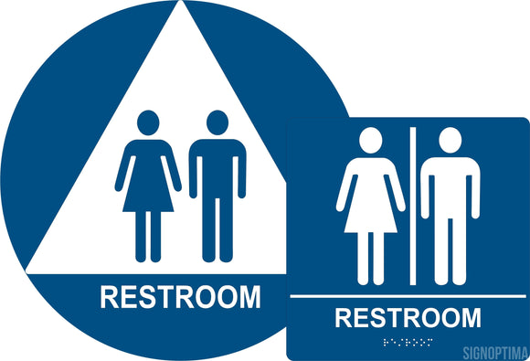 ADA Compliant Unisex Restroom Sign Bundle, Braille Sign and Door Sign (Acrylic)-Restroom Sign-SignOptima