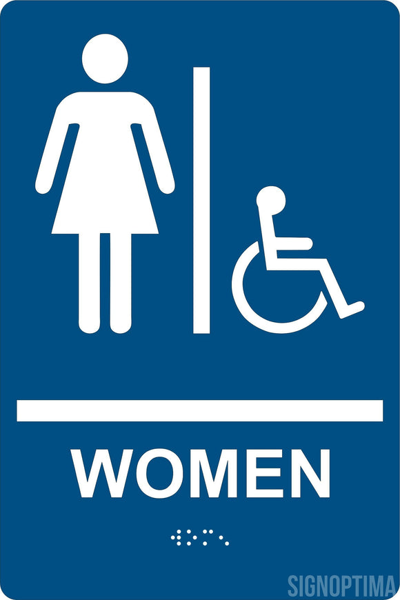 ADA Compliant Women Restroom Sign with Braille , Wall Sign-ADA Sign-SignOptima