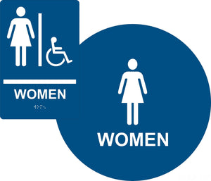 ADA Compliant Women's Restroom Sign Bundle, Braille Sign and Door Sign-Restroom Sign-SignOptima