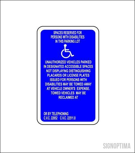 California Handicap Reserved Parking Sign-Parking Sign-SignOptima
