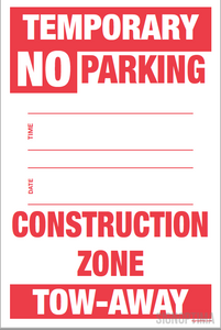 "Temporary No Parking Sign , 18""x12"" Cardboard Set of Two (Construction Zone)-Parking Sign-SignOptima"