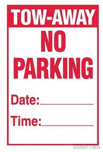 "Temporary No Parking Sign , 18""x12"" Cardboard Set of Two(2)-Parking Sign-SignOptima"