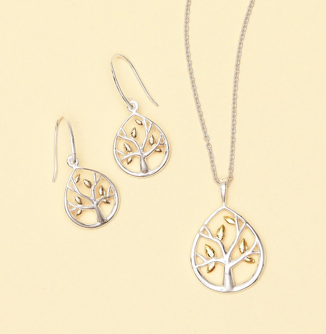 Tree of Life with Golden Leaves Pendant