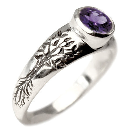 Tree of Life Engagement Ring with Amethyst