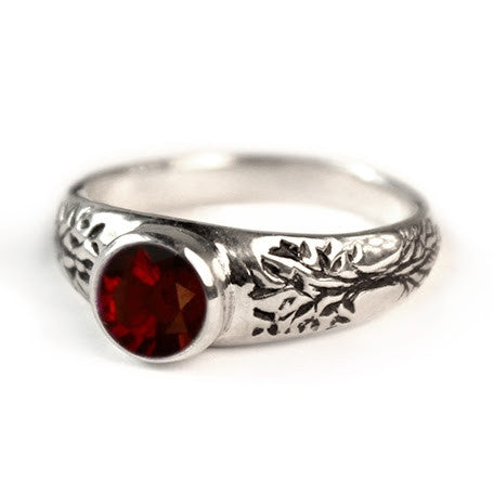 Tree of Life Engagement Ring with Garnet