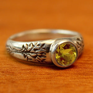 Tree of Life Engagement Ring with Peridot