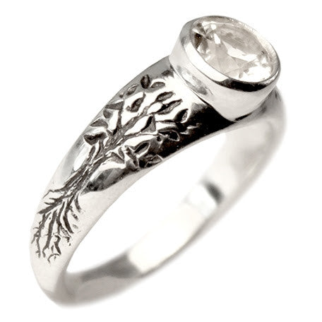 Tree of Life Engagement Ring with White Topaz