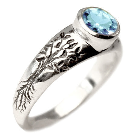 Tree of Life Engagement Ring with Blue Topaz
