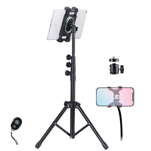 "Tripod Floor Stand for iPad Pro/iPhone/Projector/DSLR NUPod Aluminum Lightweight Max Height 68"" w. 360° Ball Head & Cellphone Holder & Remote for Phones, iPad Pro, Suface Pro, NUStand etc."