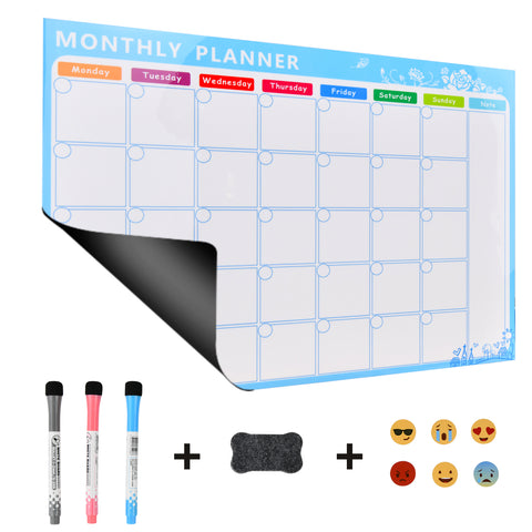 "Magnetic Soft Whiteboard Monthly/Weekly Calendar Planner A3 Size 16""x12"" w. Dry Erase Markers Eraser Emoji Faces Home Office Kitchen Flexible Magnet Paper White Dry Erase Board for Fridge"