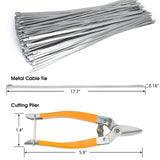 Metal Cable Zip Ties Self Locking 304 Stainless Steel Exhaust Wrap Tie w. A Diagonal Cutting Plier Home Tools, 0.2 by 18 in 20 Pcs/Set