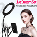 Selfie Ring LED Light Set 4in1, 8 inch YouTube Video Live Stream Desktop Ring Lamp with Clamp Mount & Phone Holders & Microphone Holder