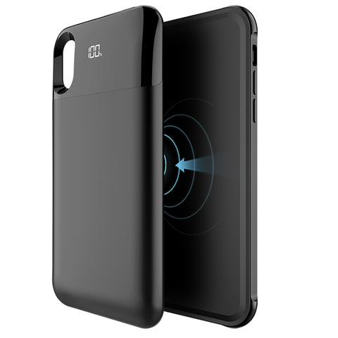 NUNET Detachable Battery Case for iPhone Xs/X /XR /XS MAX Nucharger Portable Rechargeable Magnetic Qi Wireless Charger Pack Full Cover, Black