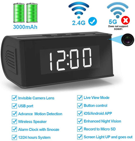 Hidden Camera WiFi Alarm Clock, Wireless Speaker Covert Camera with Night Vision,Motion Detection Nanny Camera,SD Card Record,App Live Control and Viewing Security Camera for Home and Office