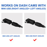 15ft Micro USB & Mini USB Dash Cam &Type-C Hardwire Kit w. Mini(ACS)/LP Mini(ACN)/ATO(ATC or ACU)/Micro2(ACZ) Fuse, Micro to Mini/USB-C Port Adapters & 11.9V Real Battery Drain Protection