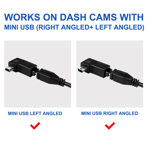 High Power Angled Micro USB Camera Video Vehicle Hard Wire Charging Cable