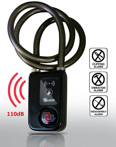 "NuLock Bluetooth Braided Steel Cable Bike Lock 47"" Inches (110dB Alarm with Cellphone Notification) - Nuvending.com"