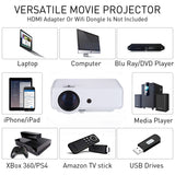 "Native 720P Nuprojector Portable Full HD HDMI VGA LED Video Projector Supports 4K and 1080p 35-175"" Projection Size w. Speaker, 3600 Lumens (2019 Version) - Silver"