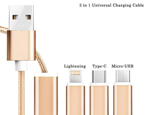 USB to MicroUSB, with Lightening Cable and Type C adapters attached. Nylon Braided Universal Charging Cable. 3ft & 2inch in length - Nuvending.com