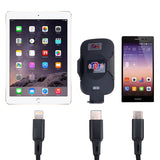 3 in 1 Fast Charge Cable (Black) USB to MicroUSB, with Lightening Cable and Type C adapters attached