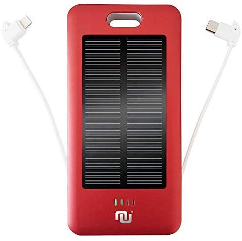 10000mAh Portable Battery Charger w. Built-in Type-C, Micro USB Charging Cable Mobile Power Bank Solar Nucharger Red w. Solar Panel & 20 LEDs for Lighting (Red, Solar)