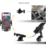 Qi Fast Wireless Car Charger Cellphone Holder Phone Cradle w. Infrared Sensor Clamp Compatible w. iPhone 8/8 Plus/X/XR/XS/XS Max, Samsung Note 9/8 etc.(Windshield&Air Vent Mount Kit Incl.)