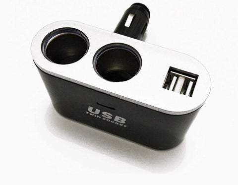 Universal Cigarette Port Socket Splitter with Two USB Ports - 3.1A/15.5W for NuCam DL, AW Dash Cam, Phones. - Nuvending.com