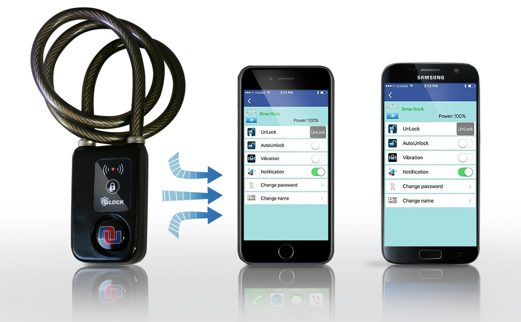 NuLock Bluetooth Braided Steel Cable or Chain Bike Lock (110dB Alarm with  Cellphone Notification)