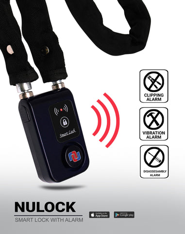 NuLock Bluetooth Cloth Covered Interlocking Chain Bike Lock 31 Inch (110dB Alarm with Cellphone Notification)
